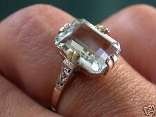 ANTIQUE DECO SOLID GOLD GENUINE DIAMONDS AQUAMARINE RING NR COMBINE SHI