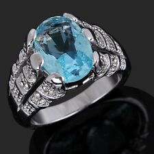 Gorgeous Fashion Size 9 New Aquamarine 18K Gold Filled Wedding Rings For Mens