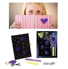 Kids Lockable SECRET DIARY Padlock & Keys Set KEYRING UV TORCH Invisible Ink Pen