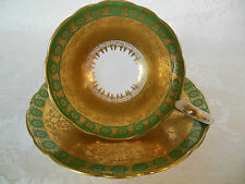 ROYAL STAFFORD BONE CHINA TEA CUP & SAUCER SET GREEN & GOLD ENCRUSTED ENGLAND