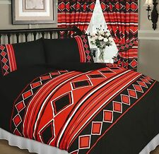 BLACK AND RED DIAMONDS AND STRIPES FUNKY NEW MODERN DOUBLE BED DUVET COVER SET