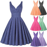 Women Summer Casual Cocktail Party Vintage 50s 60s Housewife Swing Pin Up Dress