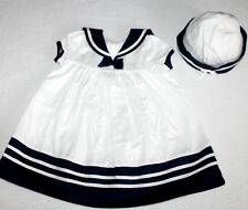 Janie and Jack Nautical Petite Sailor Dress & Hat Set Baby Girl Size 3-6 Months