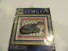 NEW Signature Series Designs 5603 Ivory Cats Counted Cross Stitch Kit Ivory Cats