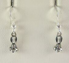 Miniature Bunny Rabbit Dangle Earrings .925 Sterling Silver Easter USA Made