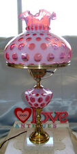 "MINTY~VINTAGE~50s""FENTON""GLASS""CRANBERRY OPALESCENT""COIN DOT""LRG~23""X10""3wy""LAMP"