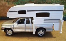 New O Scale Silver Dodge Ram 1500 Sport with Camper