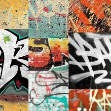 ARTHOUSE GRAFFITI BRICK WALL PHOTO MURAL TAG TEENAGER KIDS WALLPAPER RED