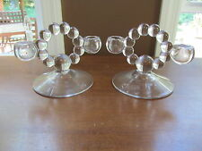 2  IMPERIAL GLASS CANDLEWICK Candelabras Double Candle Holders Candlesticks