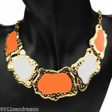 STATEMENT  ORANGE AND WHITE GEM STONE   BIB COLLAR  DESIGNER NECKLACE GOLD ALLOY