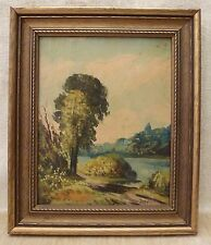 Original Oil Painting on Board Landscape Trees River Framed Artist Signed PABY