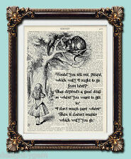 Alice In Wonderland quote Mad cheshire cat Which way to go vintage art print