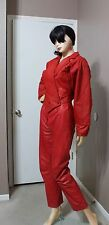 VTG 80s Argentinian Batwing Red Glam Bolero Leather Jacket High Waist Pants