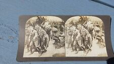 Antique Stereoview Card Wounded British Soldiers Antwerp Road WWI