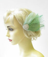 Mint Green Silver Peacock Feather Fascinator Vintage Hair Clip Races Deco 1401