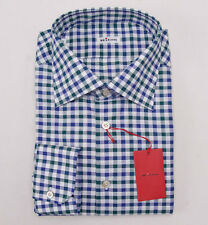 NWT $750 KITON Blue-Green Gingham Check Cotton Dress Shirt 15 x 35 + Box