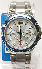 Casio Mens Stainless Steel 3 Dials Multi-Hand Dress Watch MTP-1300D-7A2V NEW