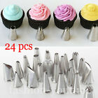 24pcs Cake Icing Piping Nozzles Pastry Tips Cookies Decorating Cupcake Set Tool
