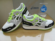 ASICS GEL-LYTE 111 CITY MESH WHITE BLACK GREY NEON  TRAINERS SIZE UK 9.5 EU 43.5