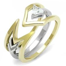 HCJ 2 TONE GOLD & SILVER OPEN TOP TRILLION CUT CZ FASHION RING SIZE 8
