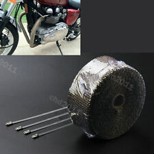 50MM x 2MM x 5M Motorcycle Turbo Heat Exhaust Pipe Thermal Wrap Titanium For Bmw