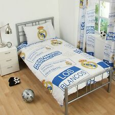 Real madrid cf housse de couette unique patch & taie d'oreiller ensemble literie 100% officiel