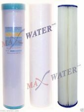 "3 Pcs BIG BLUE 20""x4.5"" Whole House Pleated Sediment GAC carbon water filter set"