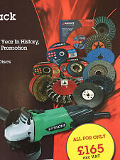ABRACS Multi-Pack Slitting/Cutting/Grinding/Flap/Poly Discs + FREE Angle Grinder