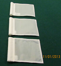 """PUTTING GREEN FLAGS -  SET OF 3 WHITE - SIZE 6""""X8"""""""