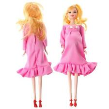 Pink Dress Real Pregnant Doll Suit Mom Doll Have A Baby In Her Tummy For Barbie