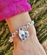 Sterling Silver Plt Charm BRACELET 4 Paw Print Heart Pet Rescue Cat Dog Paws
