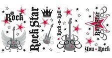 ROCK STAR wall stickers 46 decals Crown Guitar STAR girls & boys decor scrapbook