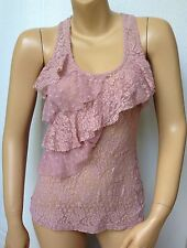 WET SEAL Womens Size Large Sheer Lace Sleeveless Tank Top Shirt Blouse Lavender