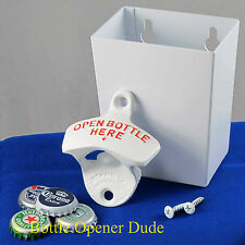 White OPEN BOTTLE HERE Combo Starr X Wall Mount Bottle Opener / Metal Catcher
