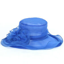 Ladies Vintage Kentucky Derby Sun Hat Wide Brim Wedding Church Racing 8 color