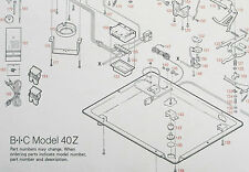BIC TURNTABLE PART--N/O/S BLOW UP DIAGRAM & PARTS LIST FOR THE BIC MODEL 40Z
