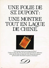 PUBLICITE ADVERTISING  1981   DUPONT   collection montre en laque de Chine