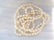 "48"" Natural Cream/Ivory Freshwater Cultured Rice Pearl Necklace No Clasp"