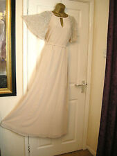 10 ASOS NUDE CHIFFON EMBELLISHED MAXI DRESS WEDDING 20'S 30S PROM VINTAGE GATSBY