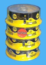 4x25 PACK CDR MAXELL BLANK DISCS CD-R RECORDABLE CD 80 MINS 52X 700MB - 100 DISC