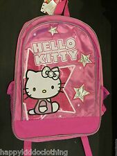 "HELLO KITTY SCHOOL BAG BACKPACK FOR GIRLS 16"" PINK stars authentic store"