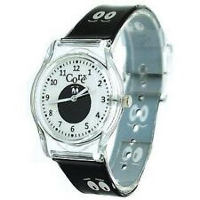 Core Girls Designer Analogue White Dial Cartoon Eyes Black Plastic Strap Watch