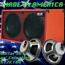 2x12 Guitar Spkr Cabinet Fire hot Red Tolex Celestion G12K100 Speakers G2X12SL
