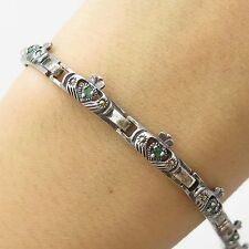 Ireland 925 Sterling Silver Real Emerald Gemstone Claddagh Link Bracelet 7 1/4""