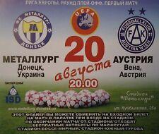 TICKET UEFA EL 2009/10 Metalurg Donezk - Austria Wien
