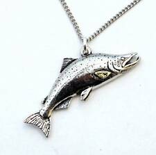 Large Salmon Necklace in English Pewter, Handmade and Gift Boxed (tsh)