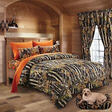7 PC BLACK CAMO COMFORTER AND ORANGE SHEET SET QUEEN BED IN BAG CAMOUFLAGE WOODS
