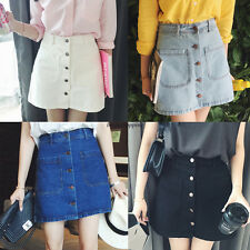 Stylish Womens Buttons Front Denim High Waist A-line Casual Mini Skirts Jeans