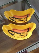 Lot of 2 Andy Warhol  Collectible Banana Split Bowls Dishes Museum Art Décor