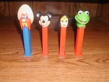 LOT OF 4 PEZ DISPENSERS MICKEY MOUSE, KERMIT THE FROG, WONDER WOMAN very nice